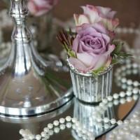 Mirror bases, pearlsm silvered tea light holder, silver candelabra